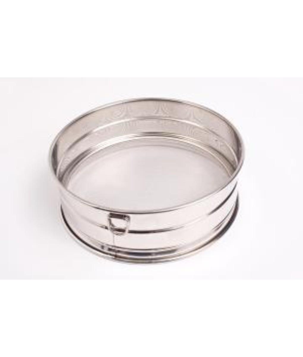 Fine Mesh Drum Sieve- Stainless steel with rim 30cm