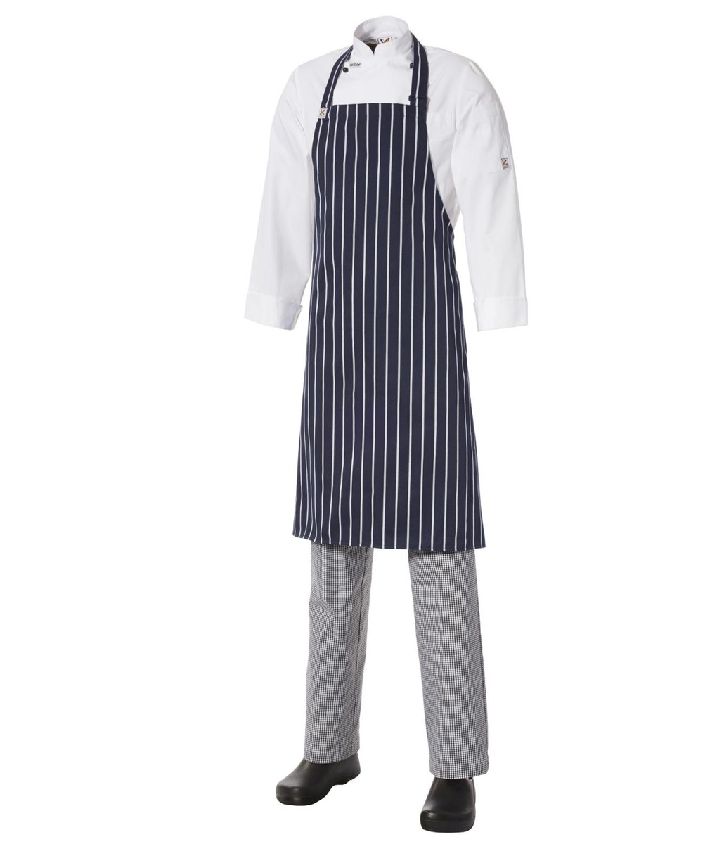 5 for the price of 4: Bib Apron Pinstripe - Medium - Navy/White by Club Chef