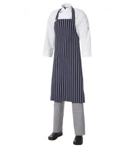 5 for the price of 4: Bib Apron Pinstripe - Large - Navy/White by Club Chef
