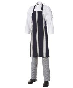 5 for the price of 4: Bib Apron Bratting - Navy/White by Club Chef