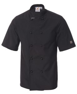 Traditional Chef Jacket in Black - Short Sleeves by Club Chef