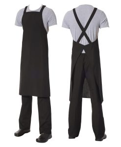 Crossover Bib Apron Black Poly/Viscose with front pocket by Club Chef